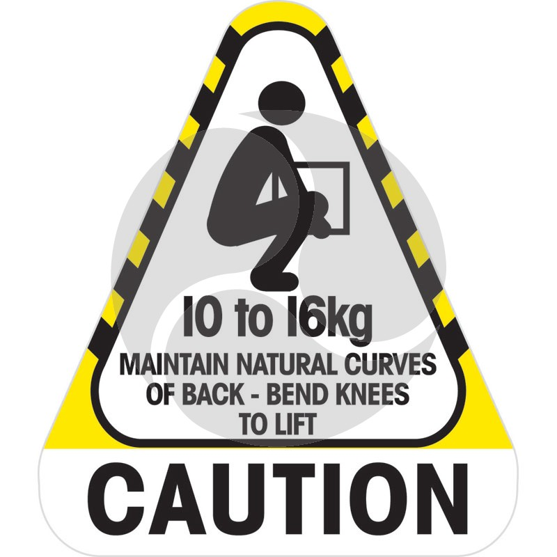 Sticker Caution 10 to 16 kg 250 / Roll