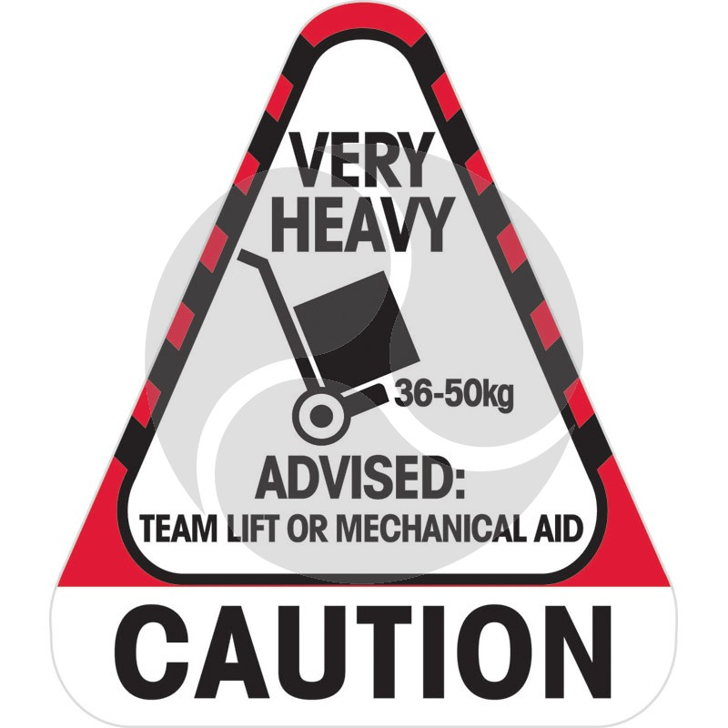 Sticker Caution Very Heavy 36 to 50 kg 250 / Roll