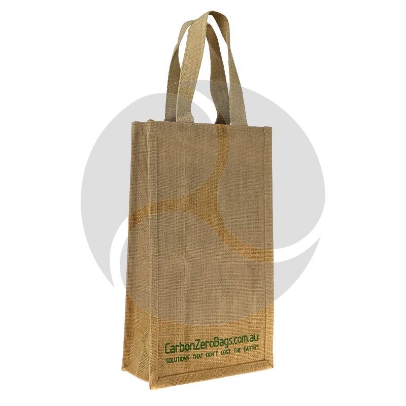 Carbon Zero Bags Printed Jute Wine Bottle Bag with Webbed Handle - 20x35x10cm