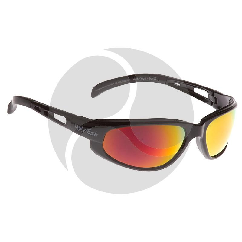 Ugly Fish Safety Eye Wear Crusher Black Frame w/ Smoke Grey with Red Revo Lens