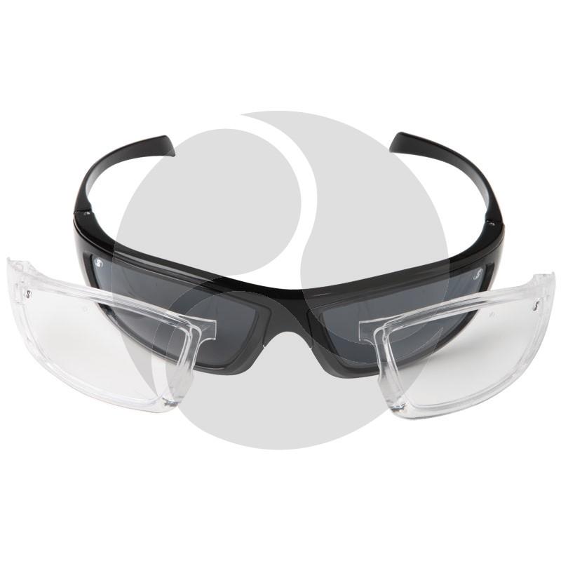 Scope Kinetic Safety Glasses - Black Gloss Frame Anti Fog / Hard Coat Lens. Includes Spare Smoke AF/HC Lens