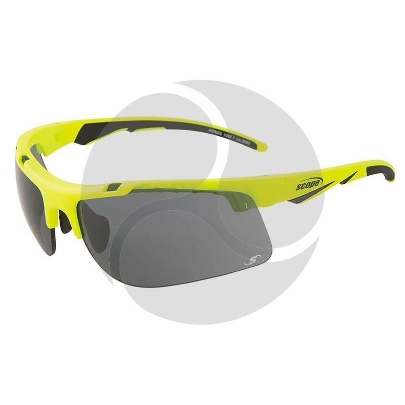 Scope Striker Safety Glasses Hi Vis Yellow Frame Smoke Anti Fog / Hard Coat Lens