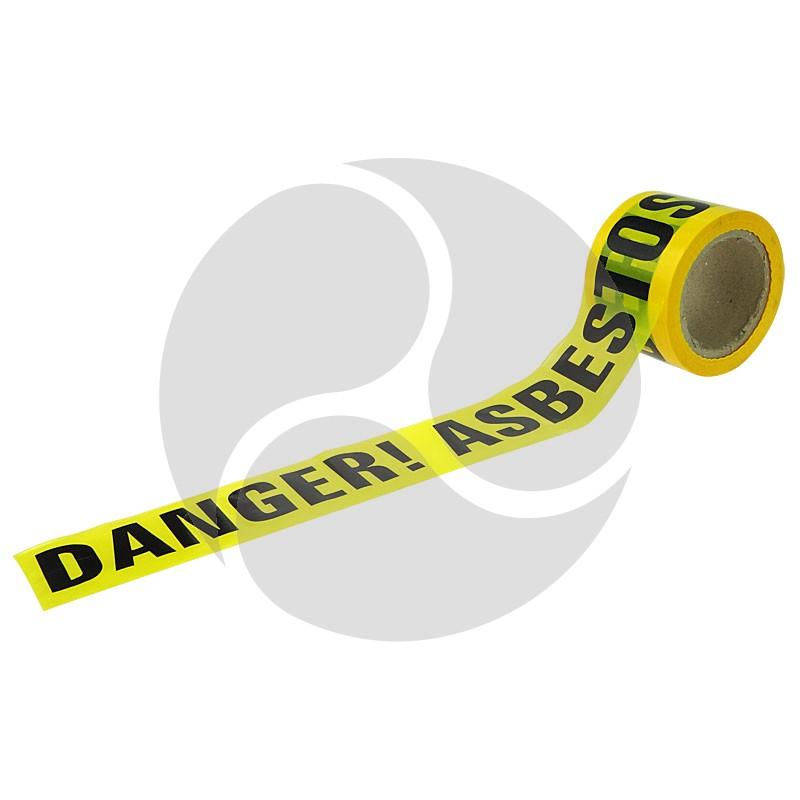 "Tapeman Yellow ""Danger - Asbestos"" Economy Hazard Tape - 72mmx100m"