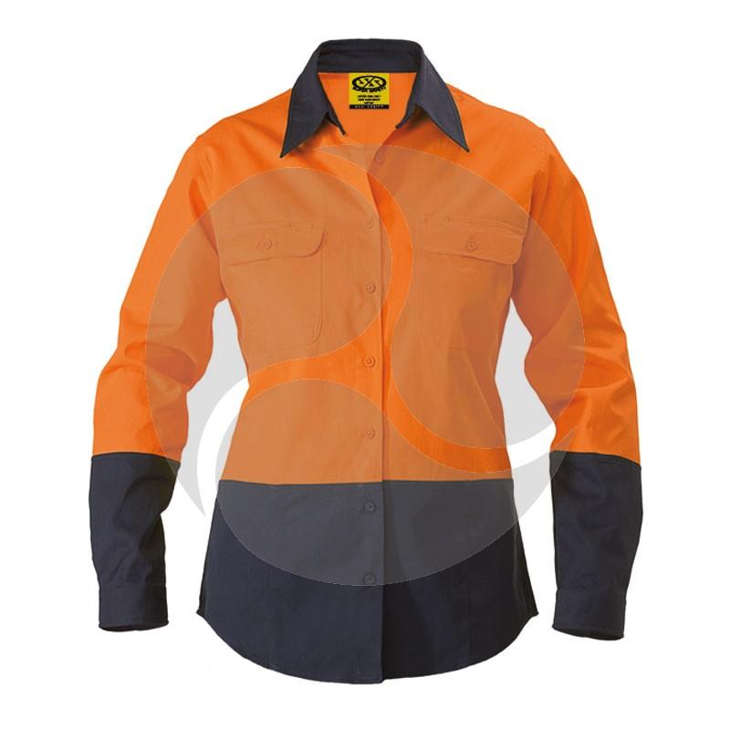 Cotton Drill LS Ladies Shirt - Orange / Navy