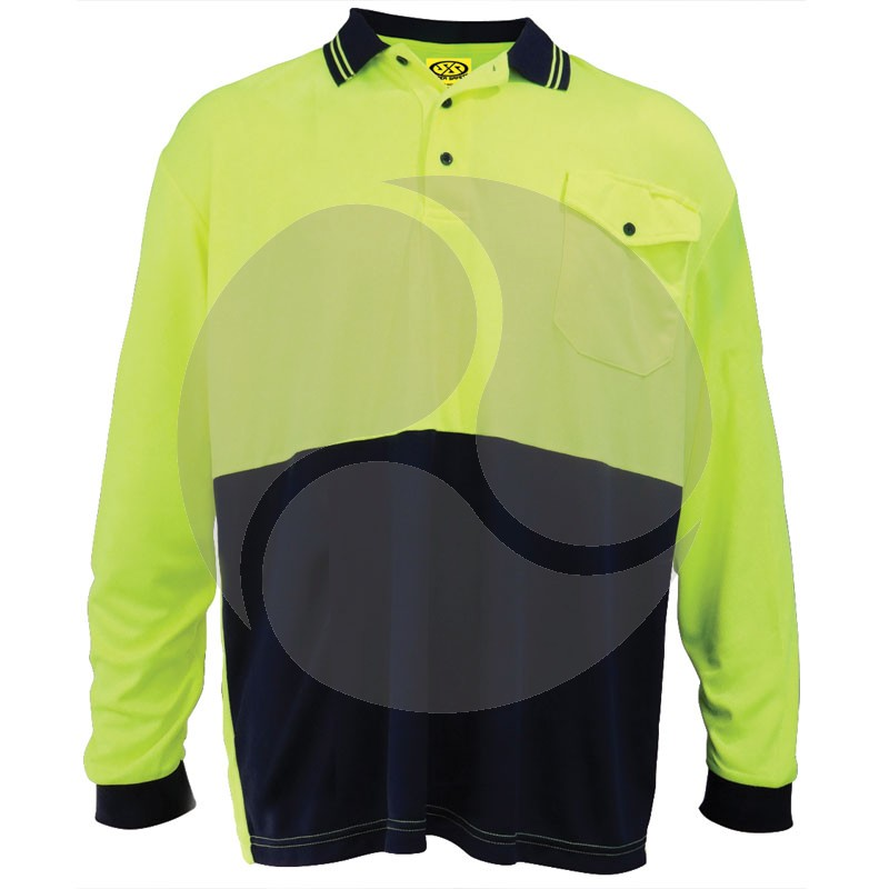 Micromesh Microfibre Polyester LS Shirt Yellow / Navy