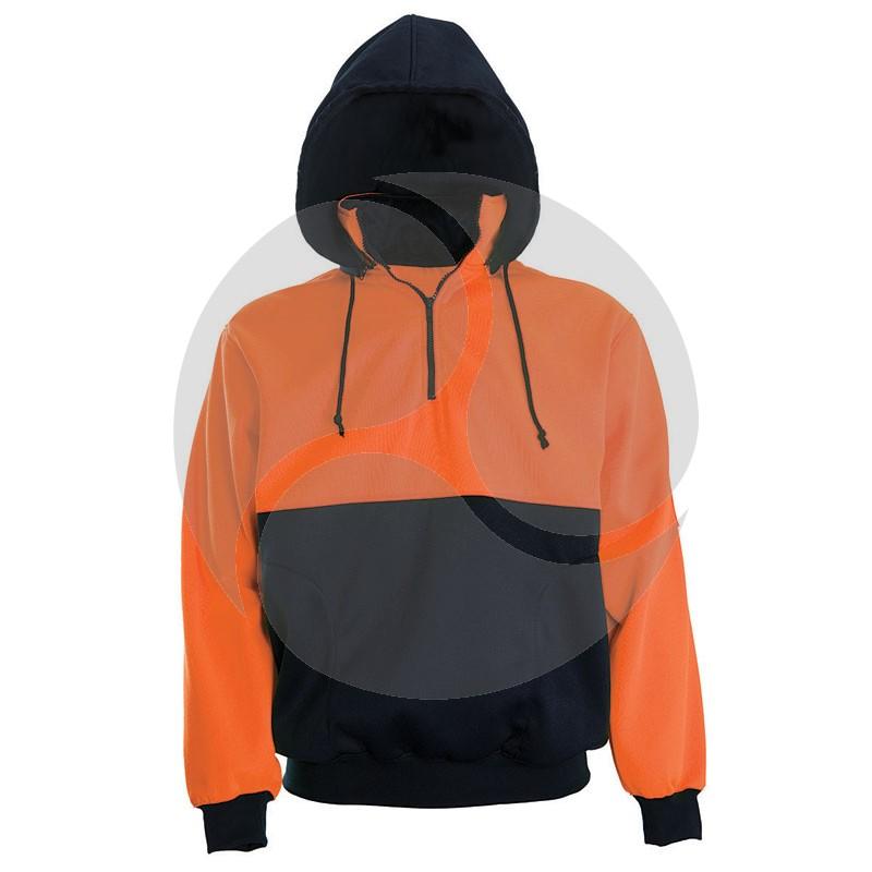 Super Safety Hi Vis Windcheater Hoodie - Orange / Navy