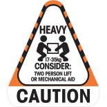 Sticker Caution Heavy 17 to 35 kg 250 / Roll