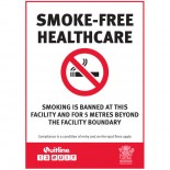 Prohibition Safety Sign - (QLD) Smoke-Free Healthcare Smoking Is Banned At This Facility And For 5 Metres Beyond The Facility Boundary