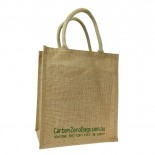 Carbon Zero Bags Printed Jute Wine Bottle Bag with Padded Handle - 30x35x20cm