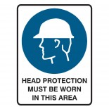 Mandatory Safety Sign - Head Protection Must Be Worn