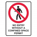 Prohibition Safety Sign - No Entry Confined Space