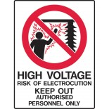 Prohibition Safety Sign - High Voltage Keep Out