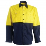 Cotton Drill LS Shirt - Yellow / Navy
