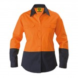 Cotton Drill LS Ladies Shirt - Orange / Navy