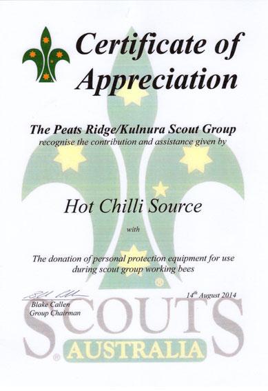 Scouts Australia Certificate of Appreciation