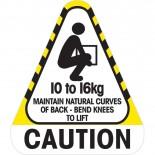 Sticker Caution 10 to 16 kg 250 / Roll