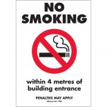 Prohibition Safety Sign - (VIC) No Smoking Within 4 Metres Of Building Entrance