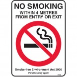 Prohibition Safety Sign - (NSW) No Smoking Within 4 Metres From Entry Or Exit