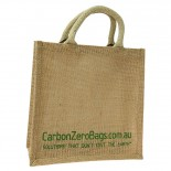 Carbon Zero Bags Printed Jute Bag with Padded Handle - 25x25x10cm