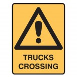 Warning Safety Sign - Trucks Crossing