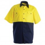 Cotton Drill SS Shirt - Yellow / Navy