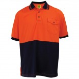 Micromesh Microfibre Polyester SS Shirt Orange / Navy